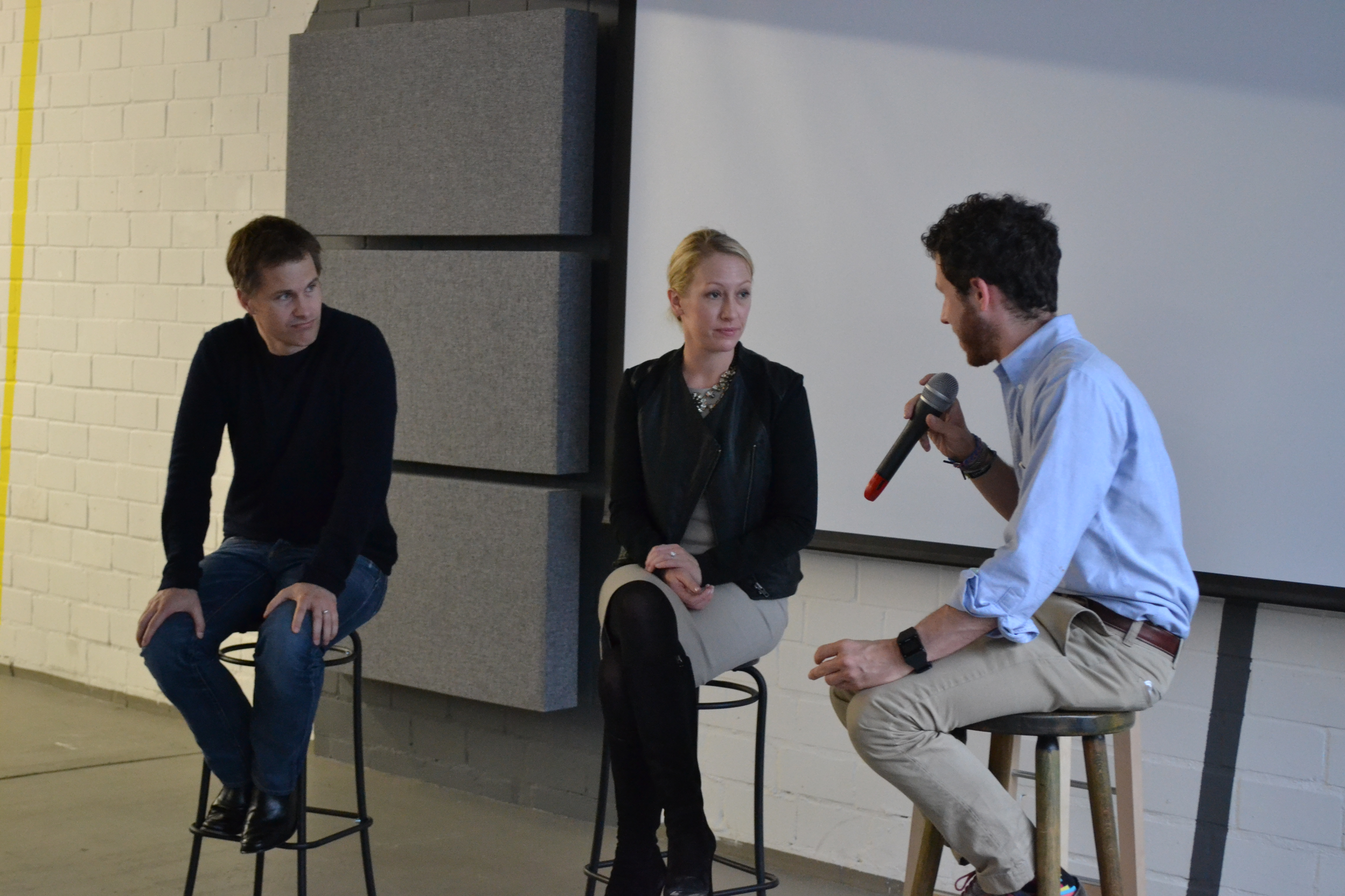 Matthew Brimer of General Assembly interviewing Eventbrite co-founders Kevin and Julia Hartz