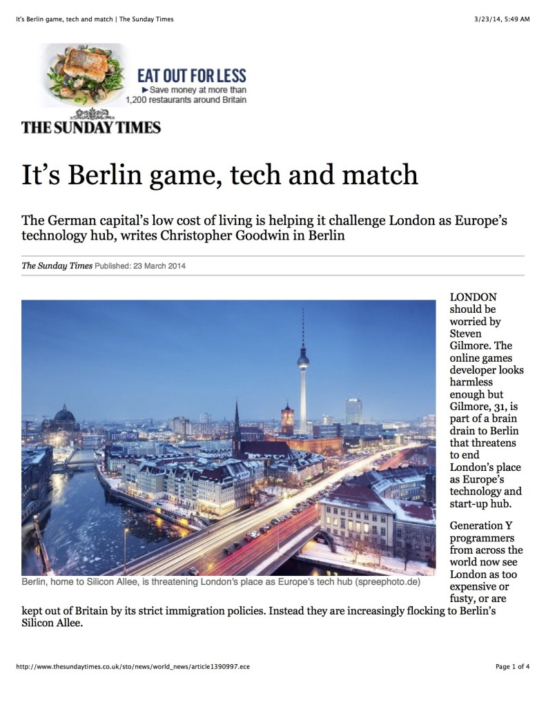 It's Berlin game, tech and match | The Sunday Times