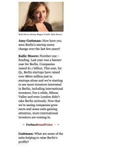 Berlin Startup Girl in Forbes
